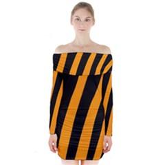 Tiger Pattern Long Sleeve Off Shoulder Dress