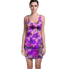 Watercolour Paint Dripping Ink  Sleeveless Bodycon Dress