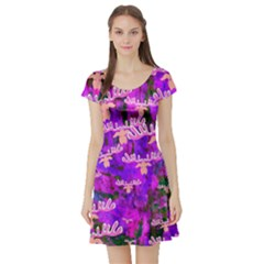 Watercolour Paint Dripping Ink  Short Sleeve Skater Dress