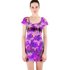 Watercolour Paint Dripping Ink  Short Sleeve Bodycon Dress