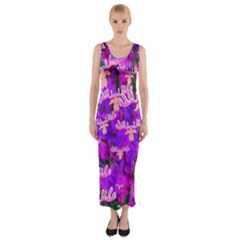 Watercolour Paint Dripping Ink  Fitted Maxi Dress