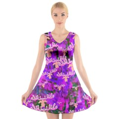 Watercolour Paint Dripping Ink  V-Neck Sleeveless Skater Dress
