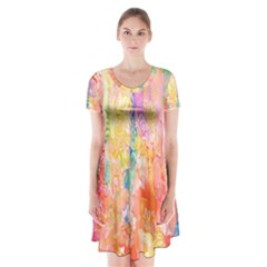 Watercolour Watercolor Paint Ink Short Sleeve V-neck Flare Dress