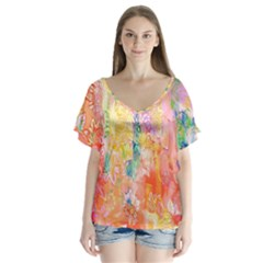 Watercolour Watercolor Paint Ink Flutter Sleeve Top