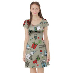 Christmas Xmas Pattern  Short Sleeve Skater Dress