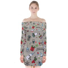 Christmas Xmas Pattern  Long Sleeve Off Shoulder Dress