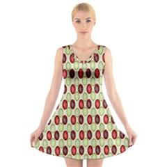 Christmas Pattern V-Neck Sleeveless Skater Dress