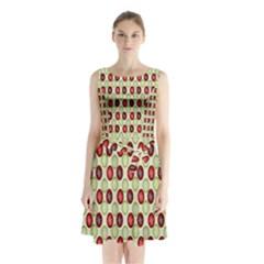 Christmas Pattern Sleeveless Chiffon Waist Tie Dress