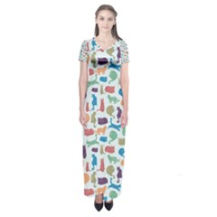 Blue Colorful Cats Silhouettes Pattern Short Sleeve Maxi Dress