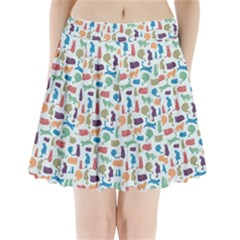 Blue Colorful Cats Silhouettes Pattern Pleated Mini Skirt