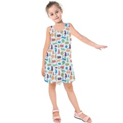 Blue Colorful Cats Silhouettes Pattern Kids  Sleeveless Dress