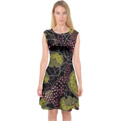 Abstract Garden Capsleeve Midi Dress