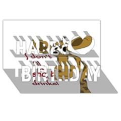 Giraffe Joke Happy Birthday 3d Greeting Card (8x4)