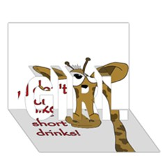 Giraffe Joke Girl 3d Greeting Card (7x5)