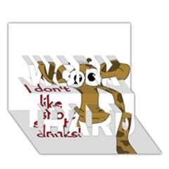 Giraffe Joke Work Hard 3d Greeting Card (7x5)