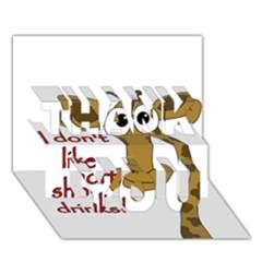 Giraffe Joke Thank You 3d Greeting Card (7x5)