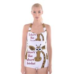 Giraffe Joke Boyleg Halter Swimsuit