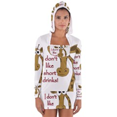 Giraffe Joke Women s Long Sleeve Hooded T Shirt