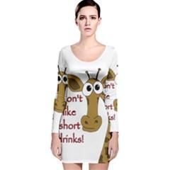 Giraffe Joke Long Sleeve Velvet Bodycon Dress