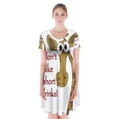 Giraffe Joke Short Sleeve V Neck Flare Dress