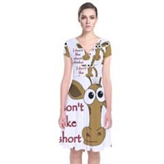 Giraffe Joke Short Sleeve Front Wrap Dress