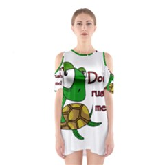 Turtle Joke Cutout Shoulder Dress