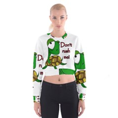 Turtle Joke Women s Cropped Sweatshirt