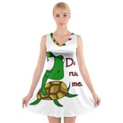 Turtle Joke V Neck Sleeveless Skater Dress