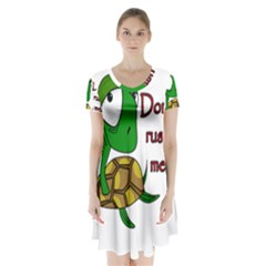 Turtle Joke Short Sleeve V Neck Flare Dress