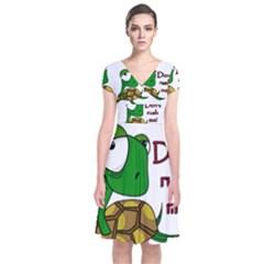 Turtle Joke Short Sleeve Front Wrap Dress