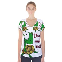 Turtle Joke Short Sleeve Front Detail Top