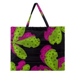 Decorative leafs  Zipper Large Tote Bag