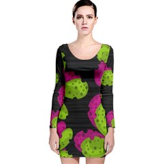 Decorative leafs  Long Sleeve Velvet Bodycon Dress