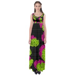 Decorative Leafs  Empire Waist Maxi Dress