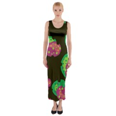 Colorful leafs Fitted Maxi Dress