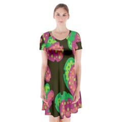 Colorful Leafs Short Sleeve V Neck Flare Dress