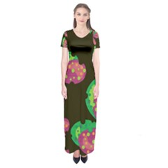 Colorful leafs Short Sleeve Maxi Dress
