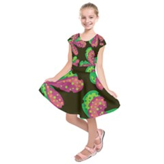 Colorful Leafs Kids  Short Sleeve Dress