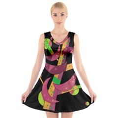 Moon tree V-Neck Sleeveless Skater Dress