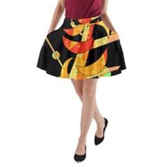 Orange moon tree A-Line Pocket Skirt