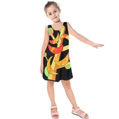 Orange moon tree Kids  Sleeveless Dress