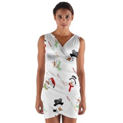 Snowman Christmas Pattern Wrap Front Bodycon Dress