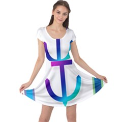 Icon Anchor Containing Fixing Cap Sleeve Dresses