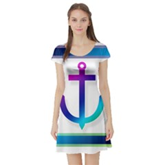 Icon Anchor Containing Fixing Short Sleeve Skater Dress