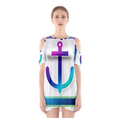 Icon Anchor Containing Fixing Cutout Shoulder Dress