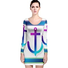 Icon Anchor Containing Fixing Long Sleeve Velvet Bodycon Dress