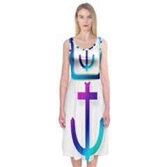 Icon Anchor Containing Fixing Midi Sleeveless Dress