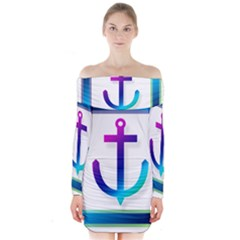 Icon Anchor Containing Fixing Long Sleeve Off Shoulder Dress