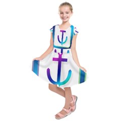 Icon Anchor Containing Fixing Kids  Short Sleeve Dress