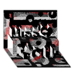 Red Shadows Miss You 3d Greeting Card (7x5)